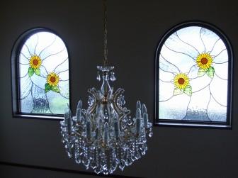大阪府 アーチ型はめ殺し窓 ひまわり&玄関ドア欄間 施工前後比較写真