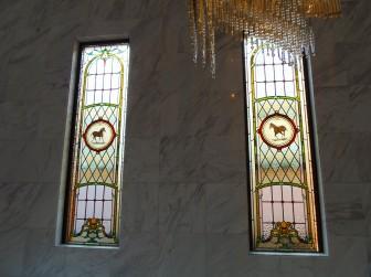 奈良県 S様邸 玄関ホール 馬柄絵付けステンドグラス 偽ステンドグラス交換 施工前後比較写真