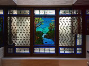 大阪府豊中市 Y様邸 ティファニータイプ風景画ステンドグラス 施工前後比較写真