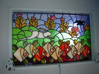 (7)旧家のステンドグラスの修復&補強&設置工事