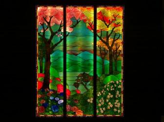 広島県 H様邸 ティファニータイプ風景画LED内蔵ステンドグラス