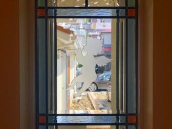 (107)大阪府茨木市A様邸② 玄関ホール はめ殺し窓 天使部分エッチングガラス