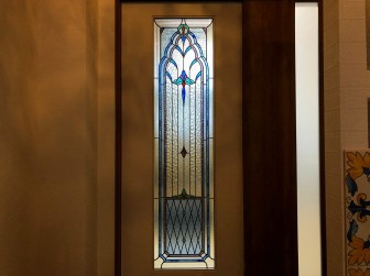 (59)滋賀県大津市 大津キリスト教会様① 室内間仕切り セミオーダーTW-19(色ガラス透明ガラス変更) 浴室&脱衣室 目隠し対策