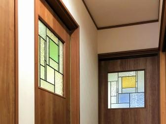 (113)兵庫県西宮市Y様邸 室内引き戸6箇所 くり抜き加工パナソニック既製品引き戸 くり抜き加工前後比較写真