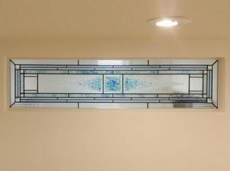 (119)鹿児島県鹿児島市Y様邸 玄関ホール間仕切壁 はめ殺し窓・ステンドグラスミラー