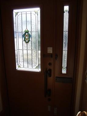 玄関ドア 親子ドア(ペアガラス内蔵ステンドグラス)